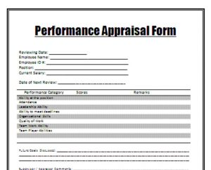 Old bureaucratic appraisal form